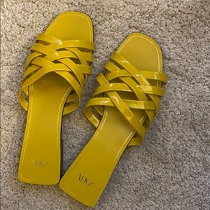 ZARA patent finish sandals in mustard yellow